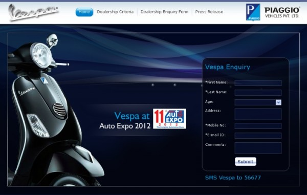 vespa india official website up, goa dealership opening soon |