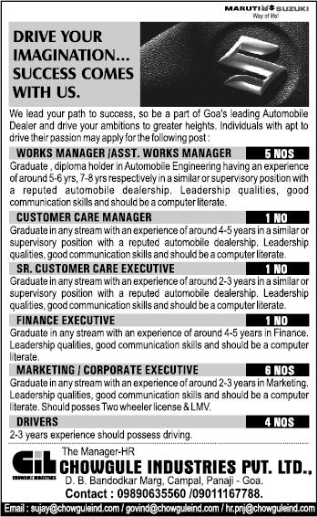 Goa Chowgule Auto careers