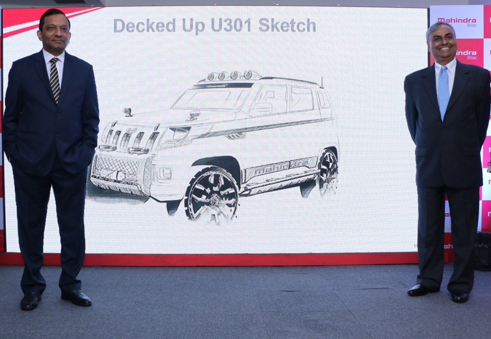 L-R – Dr. Pawan Goenka, Executive Director, M&M Ltd. & Pravin Shah, President & Chief Executive, (Automotive)  M&M Ltd. at the name and sketch reveal of Mahindra's all new SUV 'TUV300'