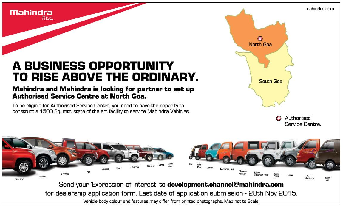 Mahindra looking for Authorised Service dealer in North Goa |