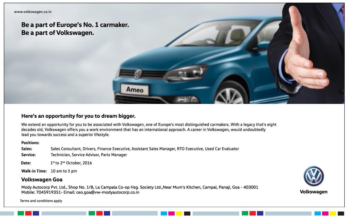 Polo gt polo gt sport polo gt sport features polo gt sport goa - Auto Jobs In Goa Volkswagen Goa Is Hiring