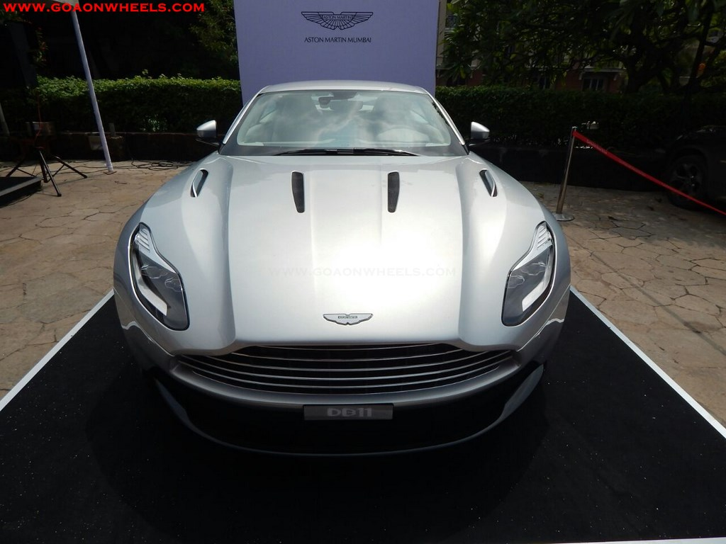 aston martin db11 rapide and mini cooper 3 door displayed in goa. Black Bedroom Furniture Sets. Home Design Ideas